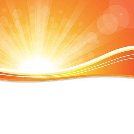 イラストの明るい晴れた日夕焼け空オレンジ背景。