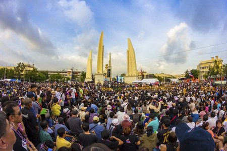 amnesty: BANGKOK,THAILAND - NOVEMBER 24, 2013   Anti-government protesters to the Democracy Monument  The protest Against The Amnesty bill  Many anti It does not show the number of people on TV news