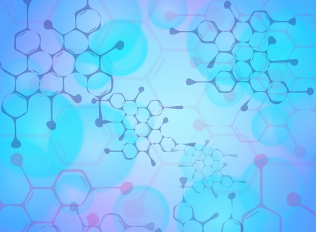 PROTON: Abstract molecules medical background Illustration