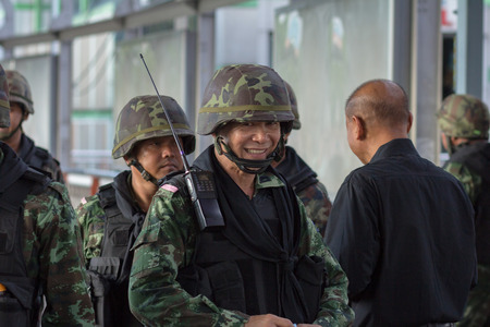 coup: Victory monument ,Bangkok ,Thailand - May 31 ,2014. Thai Army prepare their defensive line for anti riot after Thai Royal Army coup detat on May 23,2014 in Bangkok ,Thailand.
