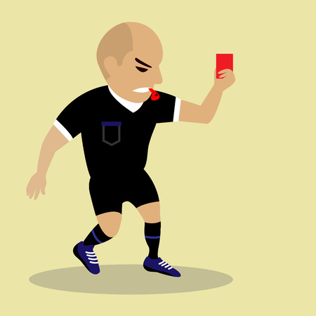 soccer referees hand with red card: football judge hand with red card Illustration
