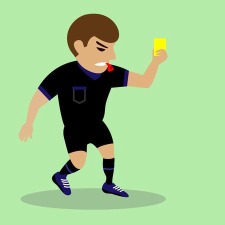 tarjeta amarilla: juez de f�tbol mano con la tarjeta amarilla