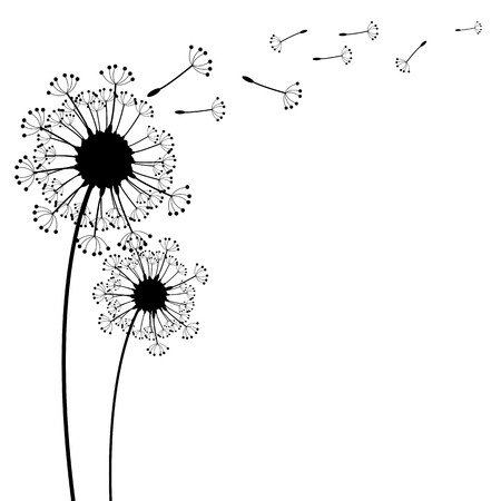 flying float: vector dandelion on a wind loses the integrity