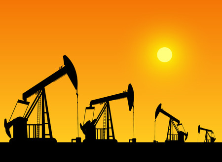 oil well: silhouette of working oil pumps on sunset background Illustration