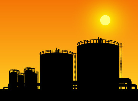 oil and gas industry: oil tank storage in oil refinery petrochemical industry estate