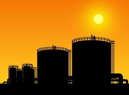 industria petroquimica: tanque de almacenamiento de petróleo en la refinería de petróleo petroquímica raíces Vectores