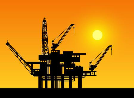 Oil derrick in sea for industrial design. Vector