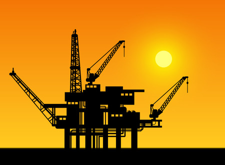 oil and gas industry: Oil derrick in sea for industrial design. Illustration