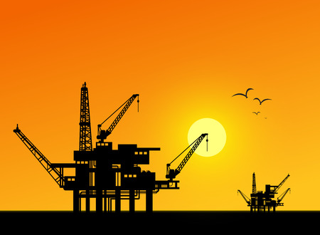sun oil: Oil derrick in sea for industrial design. Illustration