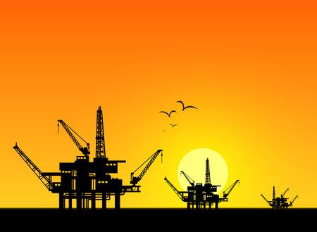 industrial design: Oil derrick in sea for industrial design. Illustration