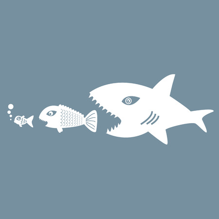 Big Fish Eating Little Fish Symbol For Hierarchy Business