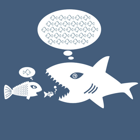 big fish eat little fish, the concept of thinking big and thinking small.