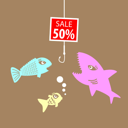 Market prices, competitive price, fish bait. Vector
