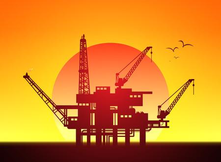 Illustration of oil platform on sea and sunset in background, vector Vector Illustration