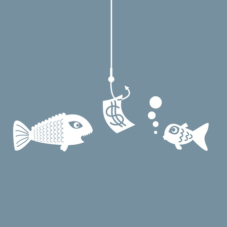 takeover: The concept of planning and searching, fishing bait. Illustration
