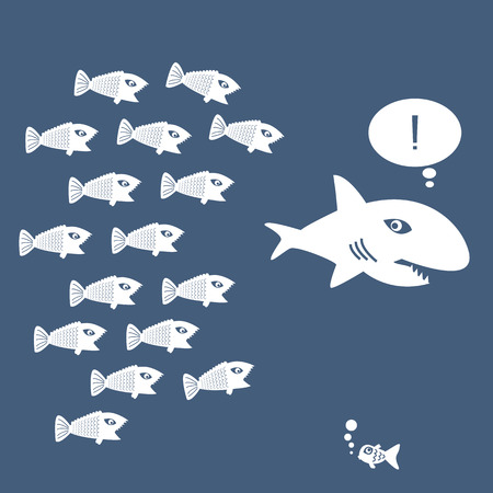 capitalismo: Little Fish Eat Big Fish. Unidad, Trabajo en equipo, organizar Concept