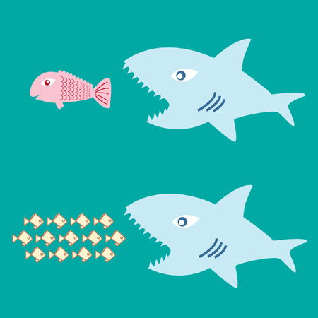 business competition: big fish eat little fish