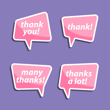 many thanks: peech bubbles to talk about thank A vector illustration.