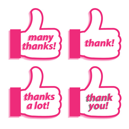 thanks a lot: Hand and words to talk about Thank vector illustrations. Illustration