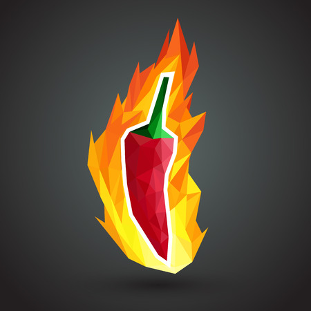 Extremely super hot red chilli paprika pepper surrounded by flames Vector