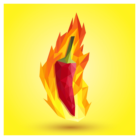 red chilli: Extremely super hot red chilli paprika pepper surrounded by flames