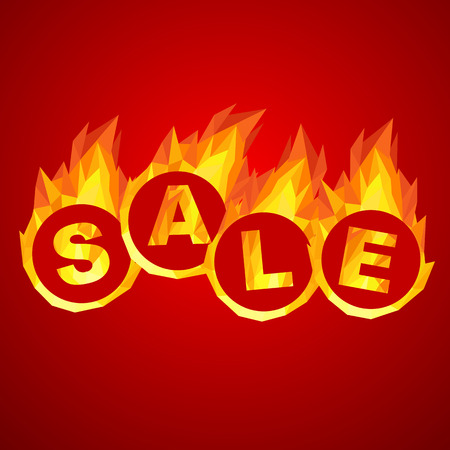 燃えるような熱い販売は幾何学的なイラストをデザインします。