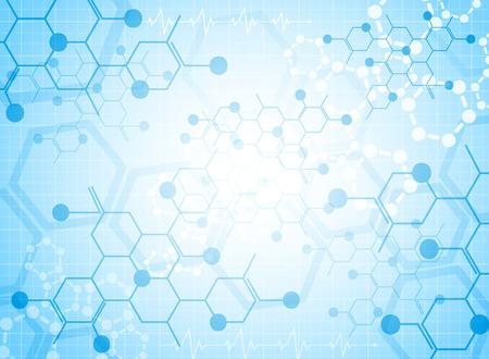 Fondo abstracto sustancia médica y moléculas. Ilustración de vector