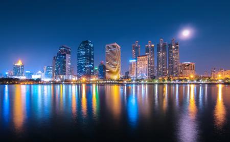 bangkok landmark: Bangkok city downtown at night with reflection of skyline, Bangkok,Thailand