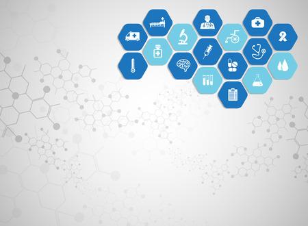 Medische achtergrond en pictogrammen om patiënten te behandelen.