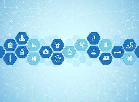 Medizinischen Hintergrund und Symbole, um Patienten zu behandeln. Standard-Bild - 39538148