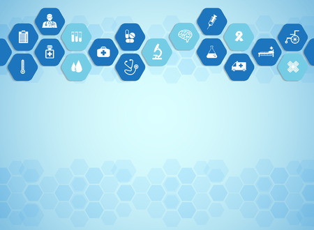 healthcare: Medical background and icons to treat patients.