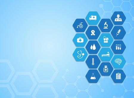 Antecedentes médicos y los iconos para el tratamiento de los pacientes.
