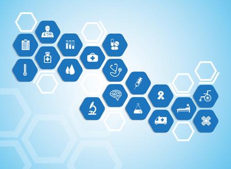 grupo de mdicos: Antecedentes m�dicos y los iconos para el tratamiento de los pacientes.