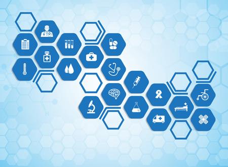 Medische achtergrond en pictogrammen om patiënten te behandelen. Stock Illustratie