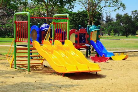 playground equipment: Children playground in the park Stock Photo