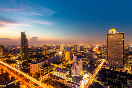 city night: Bangkok City at night time, Hotel and resident area in the capital of Thailand