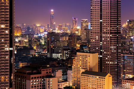 night dusk: Bangkok cityscape. Bangkok night view in the business district. at dusk.