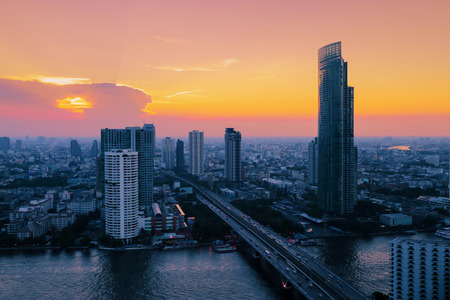 phraya: Bangkok City at evening time, Hotel and resident area in the capital of Thailand Stock Photo