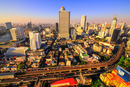 corporate travel: Building downtown Bangkok in the evening Stock Photo