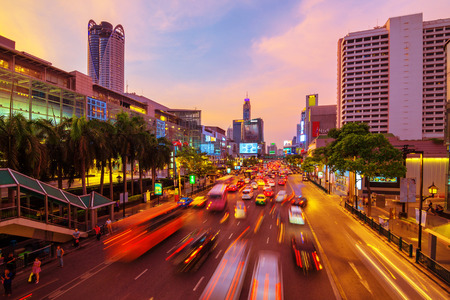 traffic jams: Road with traffic jams. Area in front Central World. Economic center of Bangkok Thailand
