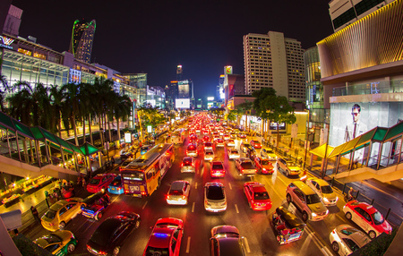 urbanscape: BANGKOK THAILAND- May 5: The big automobile stopper on one of the central streets of Bangkok on 5 May 2015. The basic problem of the Asian megacities is the complicated traffic.The front of Central World Shopping center