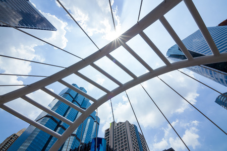 sky bridge: Sathorn Bridge in the daytime sky with clouds downtown Bangkok, Thailand.
