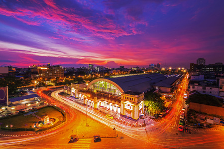 railway: Bangkok Railway Station at Night