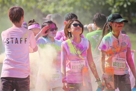 crowds of people: BANGKOK NOVEMBER 1 : Crowds of unidentified people at The Color Run on November 1, 2015 in Bangkok, Thailand. The Color Run is a worldwide hosted fun race in Bangkok.
