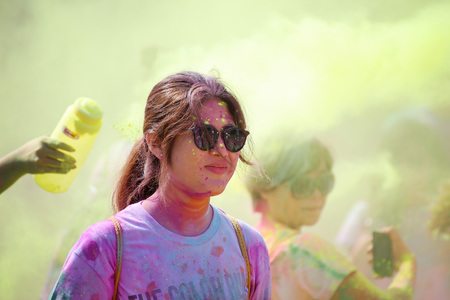 hosted: BANGKOK NOVEMBER 1 : Crowds of unidentified people at The Color Run on November 1, 2015 in Bangkok, Thailand. The Color Run is a worldwide hosted fun race in Bangkok.