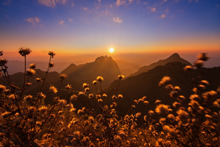 Beautiful sunset in the mountains at Doi Luang Chiang Dao, Chiang Mai, Thailand Stock Photo