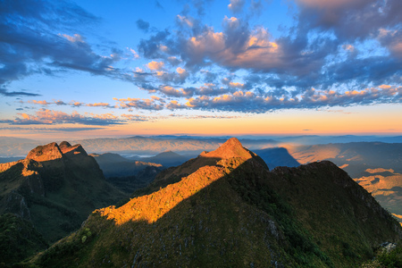 sunrise mountain: Mountain sunrise sky, Doi Luang Chiang Dao, Thailand. Stock Photo