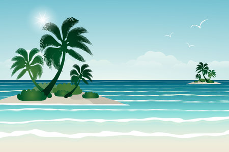 Seascape vector illustration. Paradise beach. Illustration
