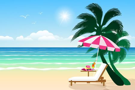 relaxing: Seascape vector illustration. Paradise beach. Illustration