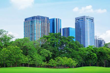 green city: green grass field in big city park Stock Photo